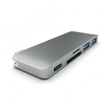 【美國代購】Satechi 鋁合金 Type-C Hub with Charging Port, SD Reader for MacBook 12/MBP 2016(Space Gray)